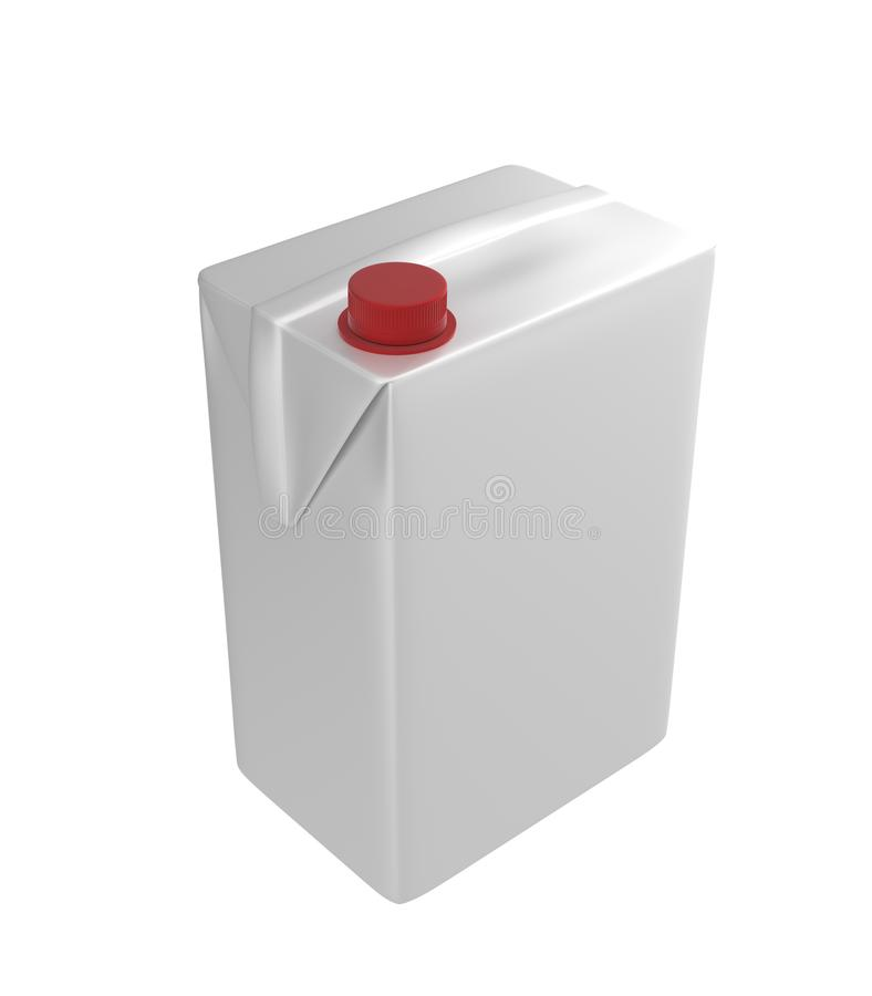 Mleka, soku lub śmietanki karton, Czerwony dekiel Biały tło Ścinek ścieżka Pusty szablon dla twój projekta royalty ilustracja