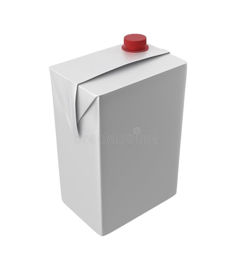 Mleka, soku lub śmietanki karton, Czerwony dekiel Biały tło Ścinek ścieżka Pusty szablon dla twój projekta ilustracji