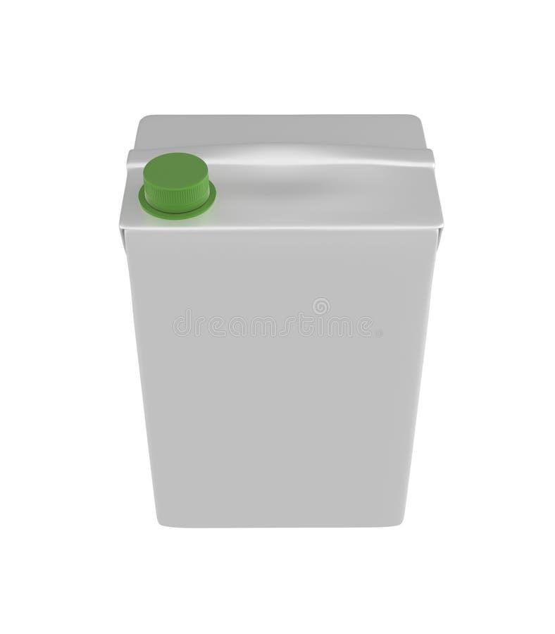 Mleka, soku lub śmietanki karton, Zielony dekiel Biały tło Ścinek ścieżka Pusty szablon dla twój projekta ilustracja wektor