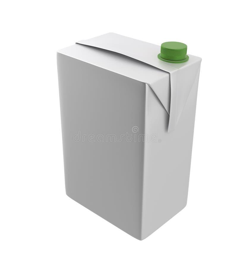 Mleka, soku lub śmietanki karton, Zielony dekiel Biały tło Ścinek ścieżka Pusty szablon dla twój projekta ilustracji
