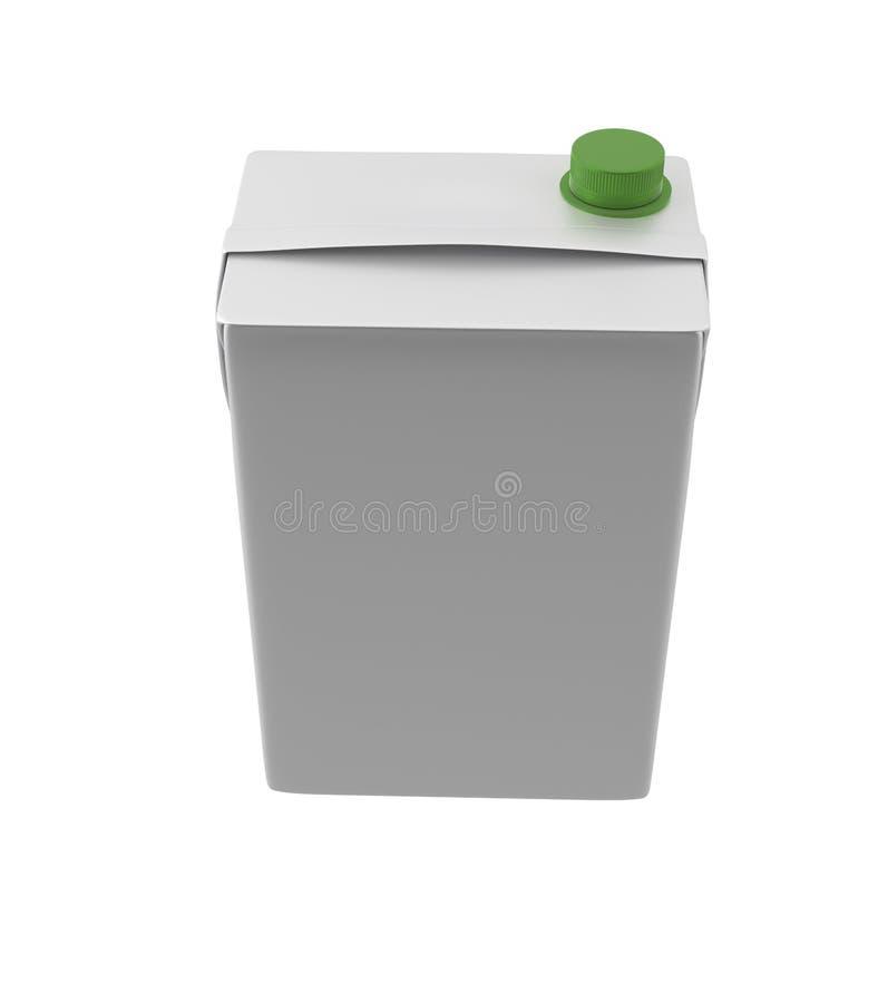 Mleka, soku lub śmietanki karton, Zielony dekiel Biały tło Ścinek ścieżka Pusty szablon dla twój projekta royalty ilustracja