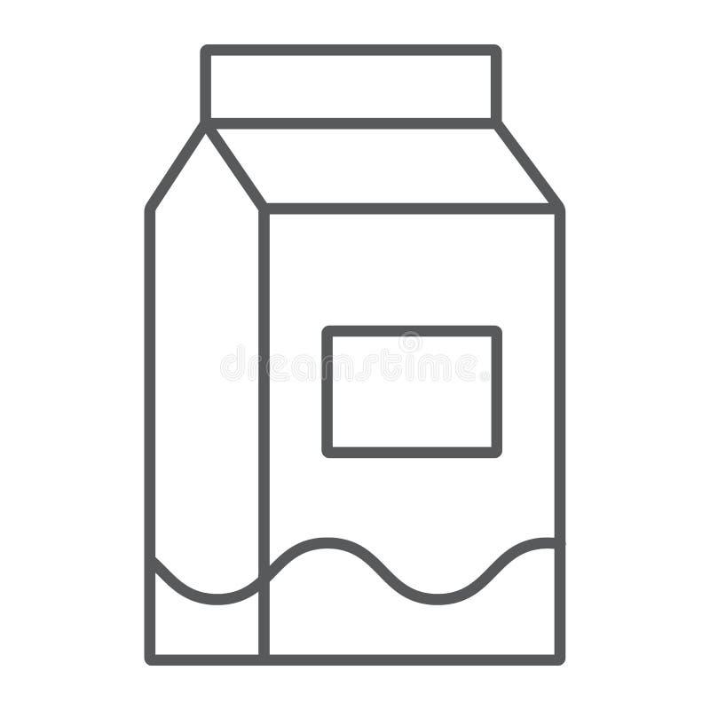 Mleko cienka kreskowa ikona, napój i jedzenie, mleko paczki znak, wektorowe grafika, liniowy wzór na białym tle ilustracja wektor