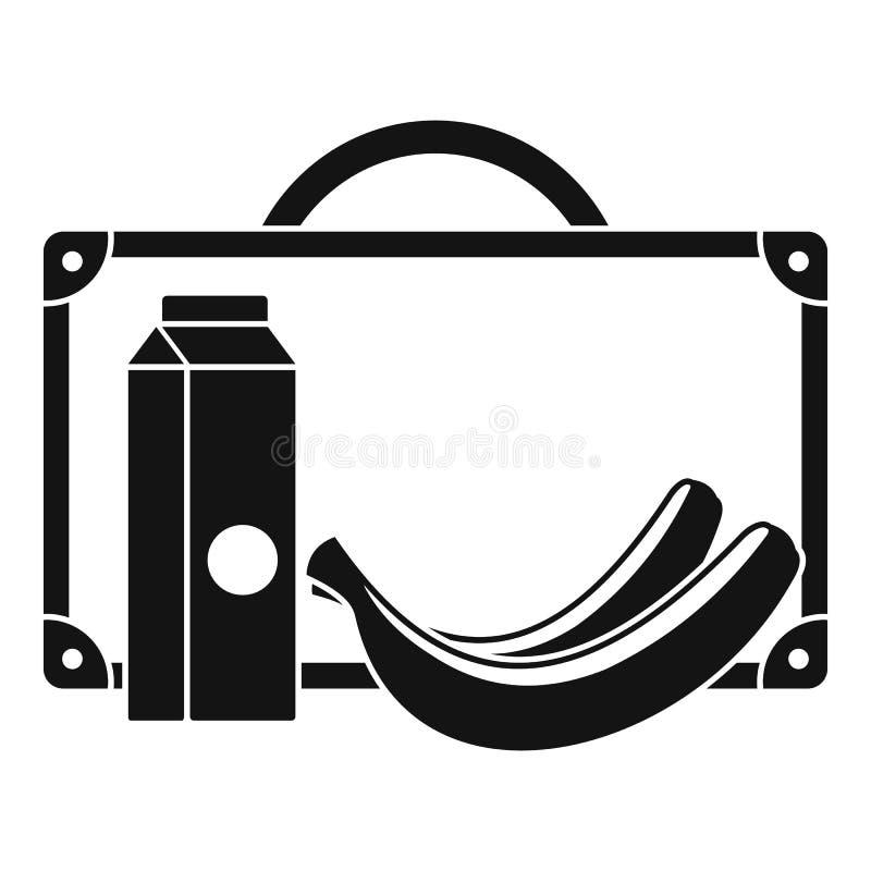Mleko i bananowa lunch ikona, prosty styl ilustracji