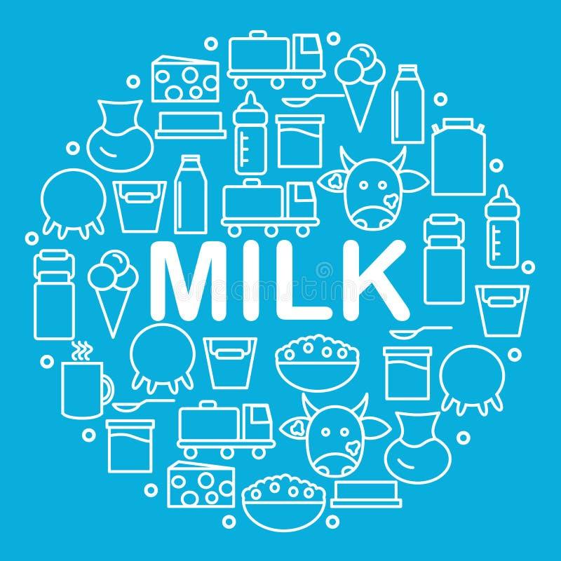 Mleko i nabiały lokalizujemy wśrodku okręgu na błękitnym tle Nabiał ikony w stylu linii ilustracji