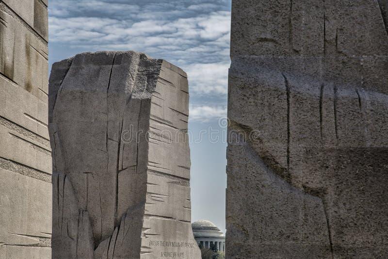 MLK, Jr Gedenkteken en Jefferson Memorial stock foto's