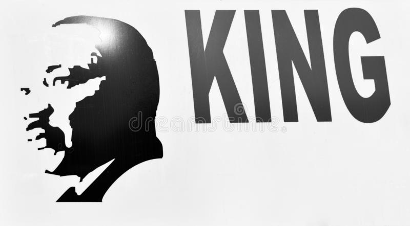 MLK Jr. Likeness Computer Generated. Computer generated sign of Dr. Martin Luther Kings Jr., the slain civil rights leaders who was assassinated in Memphis royalty free stock photos