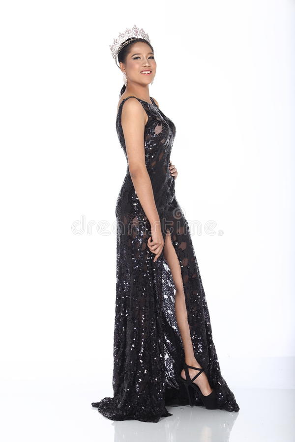 Mlle Pageant Contest dans robe de boule de robe de boule de soirée la longue avec D image libre de droits