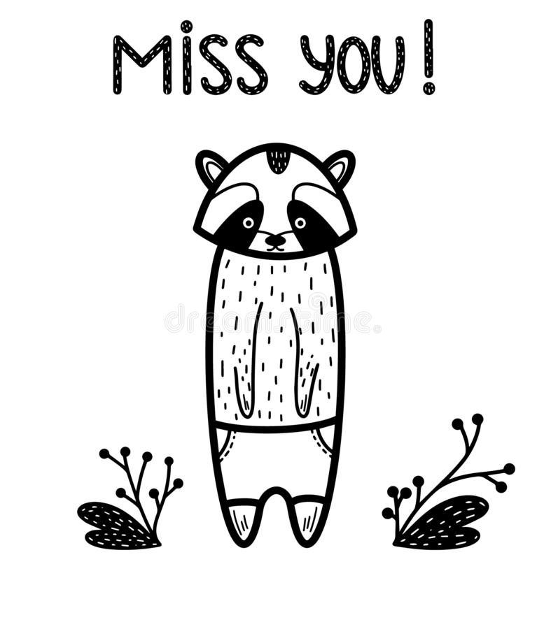 Mlle vous ! Carte animale triste mignonne Illustration de vecteur d'isolement sur le blanc avec la feuille, coeur Type scandinave illustration de vecteur