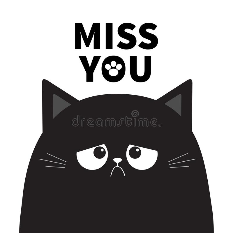 Mlle vous Silhouette grincheuse triste mignonne noire de chaton de chat Mauvais visage d'émotion Caractère de minou de bande dess illustration libre de droits
