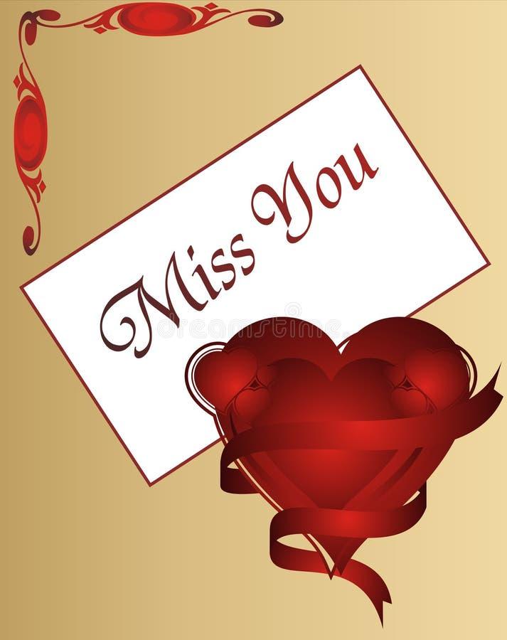 Mlle You - carte d'amour - dirigez l'illustration illustration stock