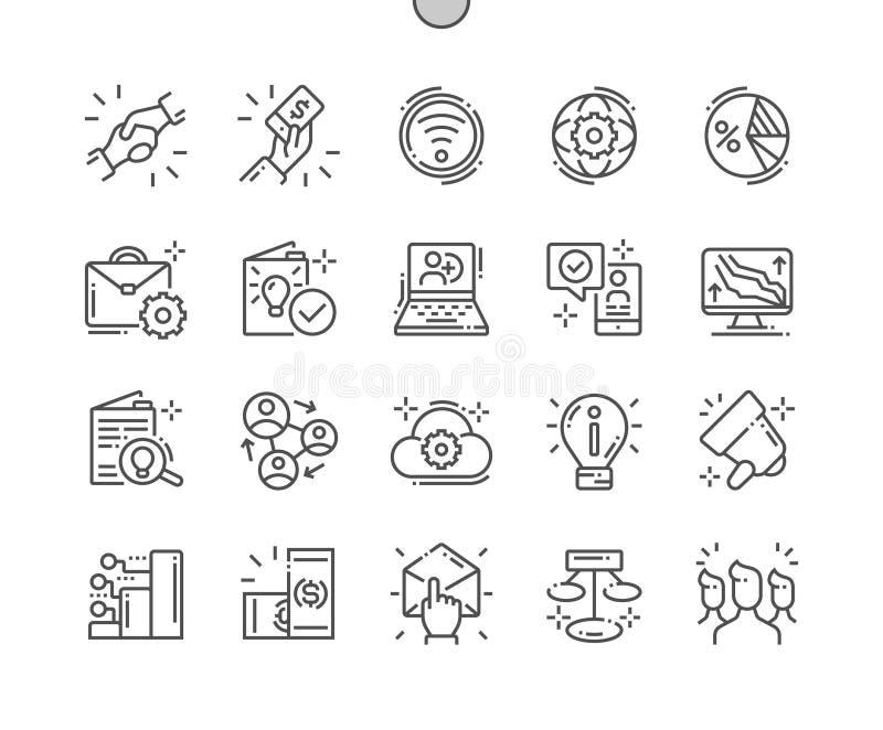MLM goed-Bewerkte Pictogrammen 30 van de Pixel Perfecte Vector Dunne Lijn 2x Net voor Webgrafiek en Apps vector illustratie