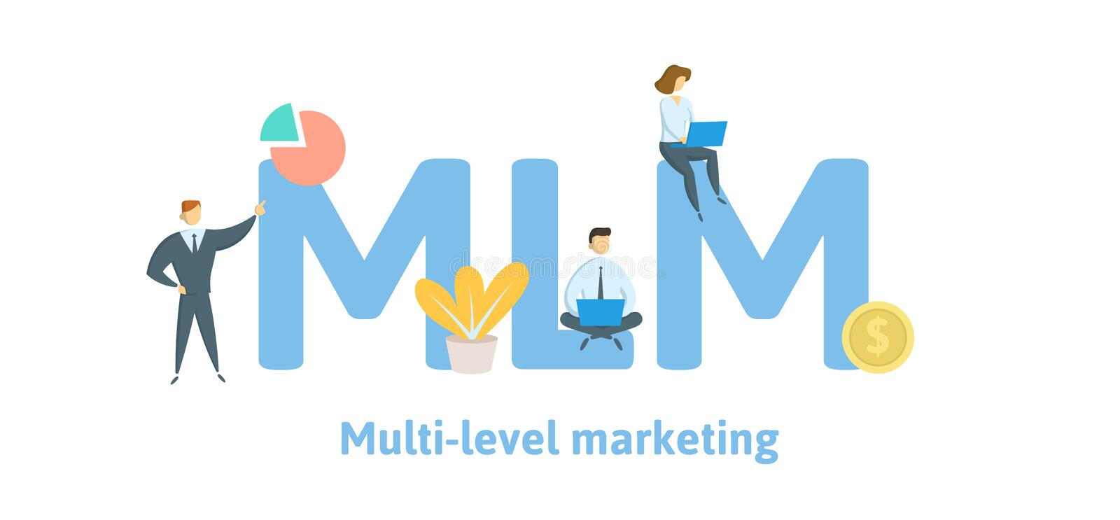 MLM, Multi Level Marketing. Concept with keywords, letters, and icons. Flat vector illustration. Isolated on white. MLM, Multi Level Marketing. Concept with vector illustration