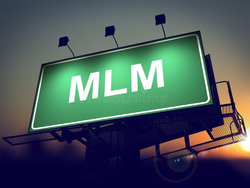 MLM - Quadro de avisos no fundo do nascer do sol. ilustração royalty free