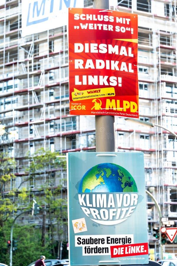 MLPD和死林克政治运动海报 库存图片
