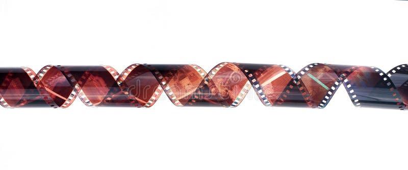 35mm在白色背景隔绝的影片小条 库存照片