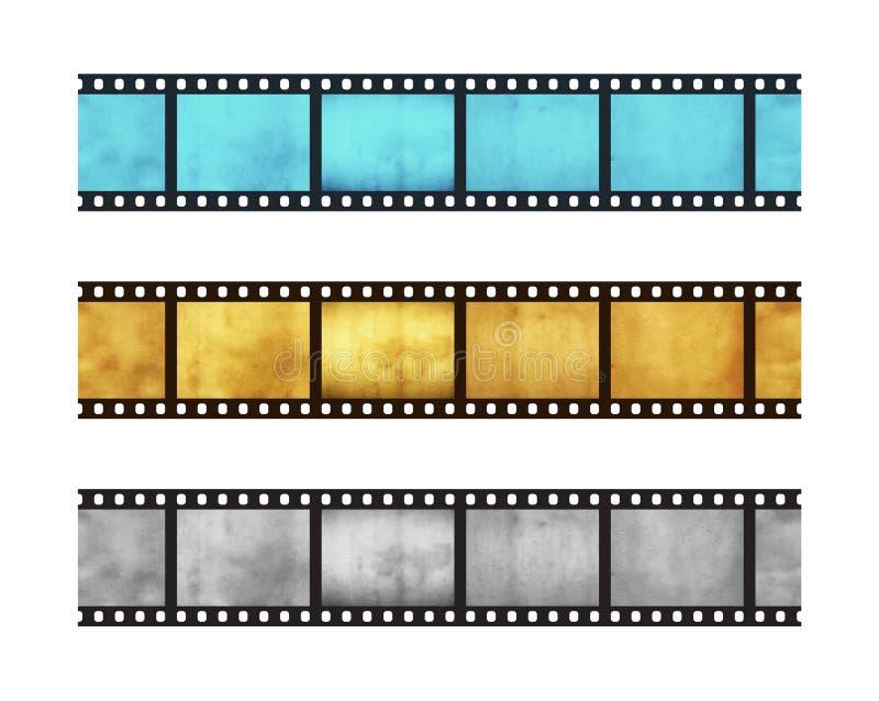 35 mm影片五个框架三葡萄酒条纹  库存照片