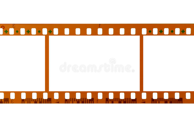 35mm影片小条,空白的框架,白色背景 图库摄影