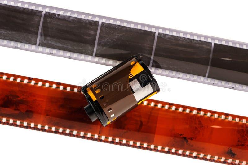 35mm照片影片 在白色隔绝的老照片胶卷软片 在白色背景隔绝的胶片小条 投反对票 免版税库存图片