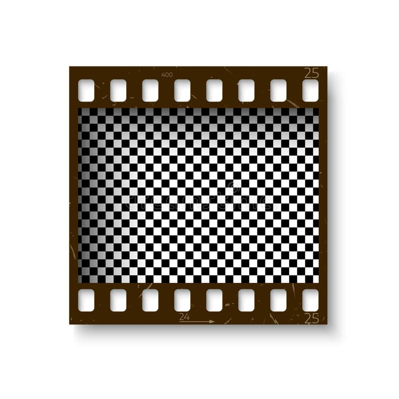 35 mm现实减速火箭的框架与在白色背景隔绝的阴影的filmstrip 透明消极干部 也corel凹道例证向量 向量例证