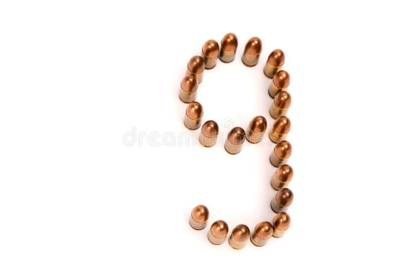 9mm 子弹列阵第九从 图库摄影