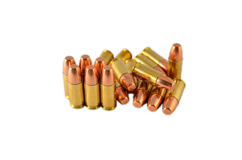 9mm ammo. 9mm handgun ammo isolated on white royalty free stock photos