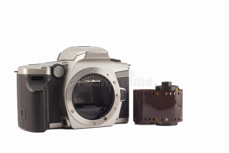 35 mm analog camera on a white background. Film camera royalty free stock photography