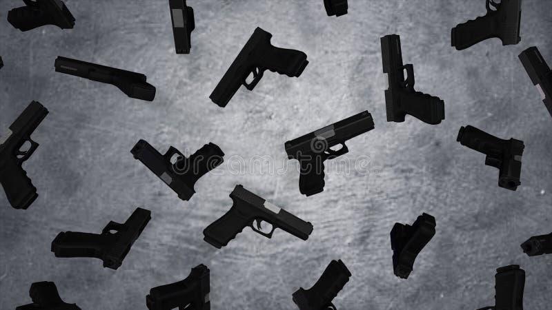 9mm automáticos pistola do revólver no fundo da parede do cimento Pistolas no muro de cimento animation imagens de stock royalty free