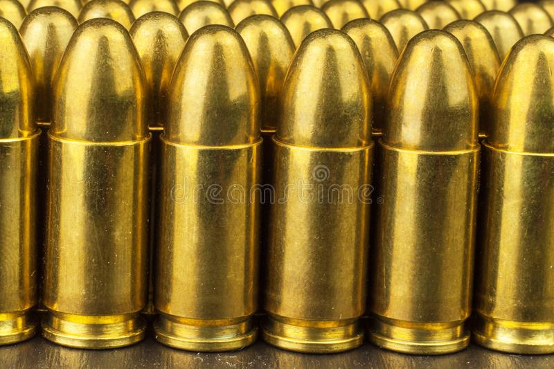 9mm caliber cartridges. Sale of weapons and ammunition. The right to bear arms. stock image