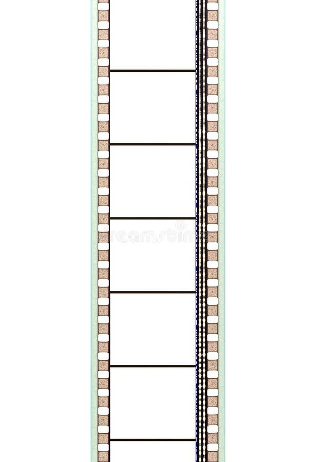 35mm de strook van de filmfilm met verticale sound-track en lege kaders, stock foto
