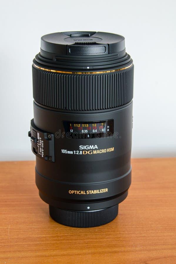 Mm f/2 för Sigma 105 8 makro för FÖRE DETTAGDOS HSM för Nikon arkivbild