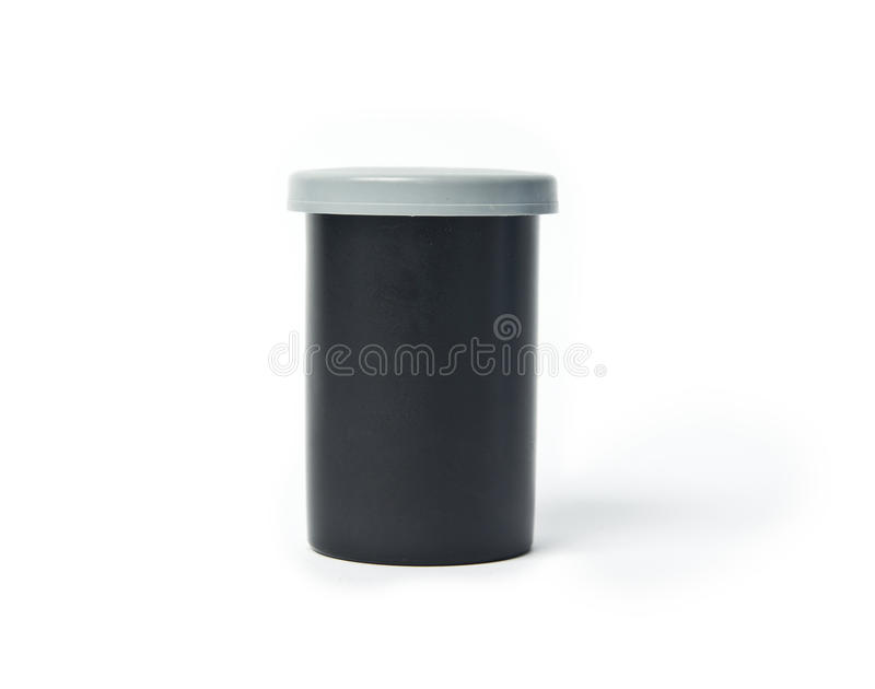 35 mm film case. Isolated on white background stock photography
