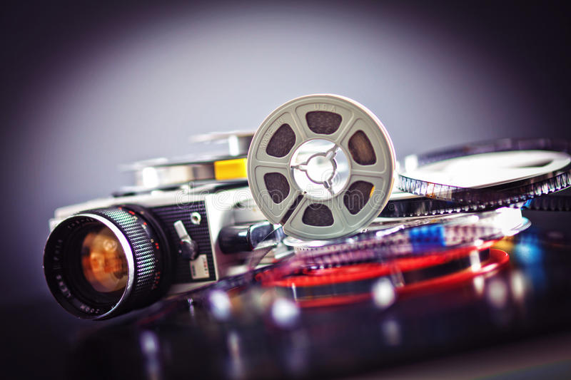 8mm film movie. Vintage 8mm film concept of movie industry stock photography