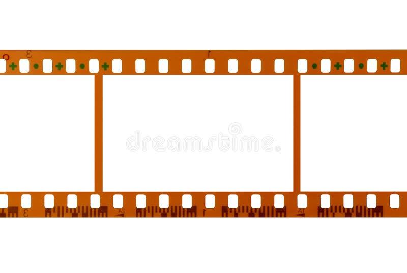35mm Filmstreifen, leere Rahmen, weißer Hintergrund stockfotografie