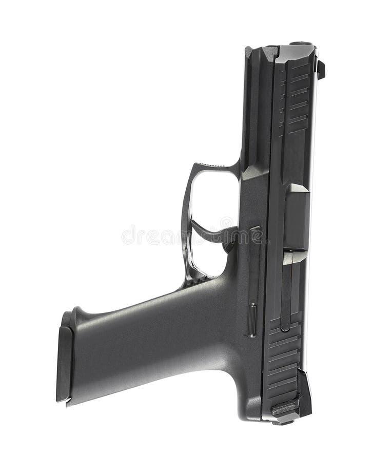 9mm halfautomatisch geïsoleerd pistool royalty-vrije stock afbeelding