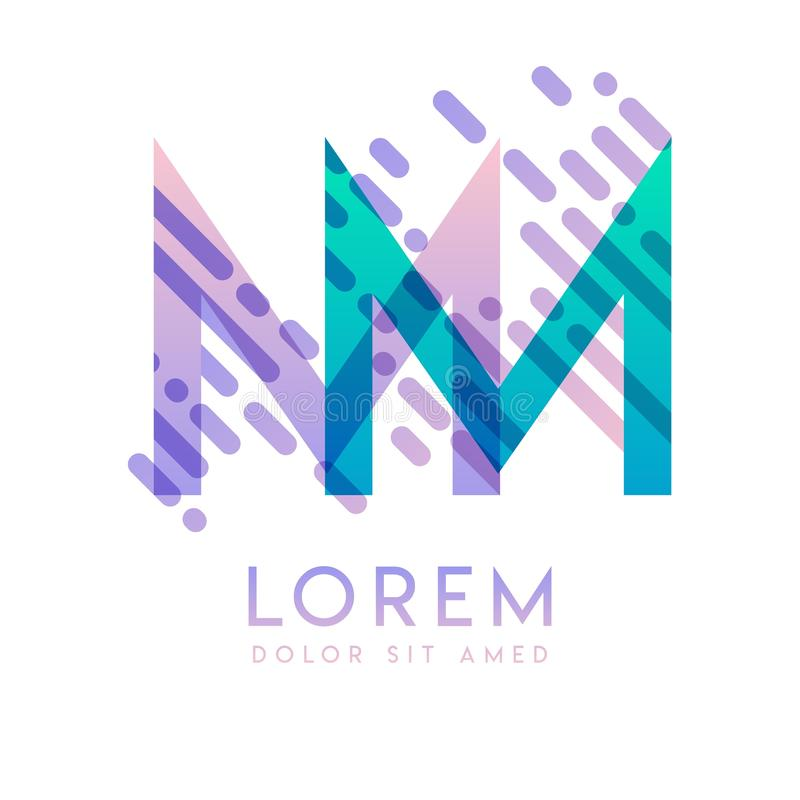 MM logo with the theme of galaxy speed and style that is suitable for creative and business industries. MM Letter Logo design for. All webpage media and mobile stock illustration