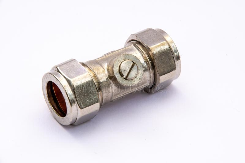 15mm metal plumbing pipe isolation valve stock photo