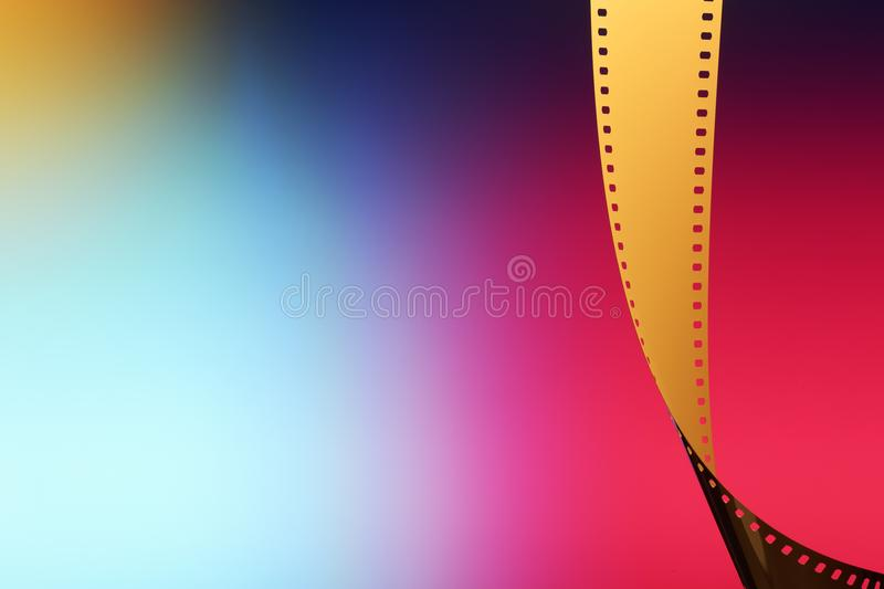 35 mm Motion Picture Film. Camera negative film. Selective focus on film perforation. Unprocessed color motion picture film. Industry symbol for shooting process stock photo