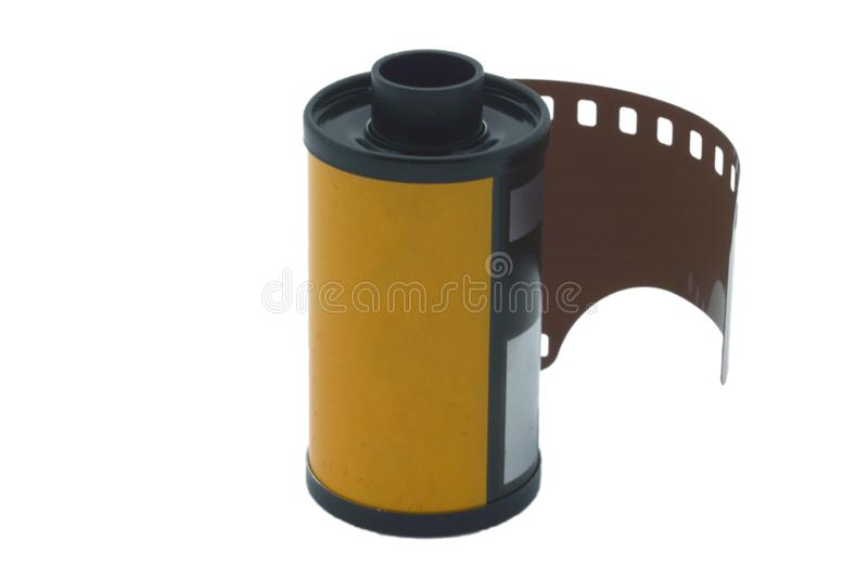 35 mm reel on white background stock photo