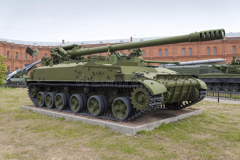 152-mm self-propelled gun. In the Museum of artillery stock image