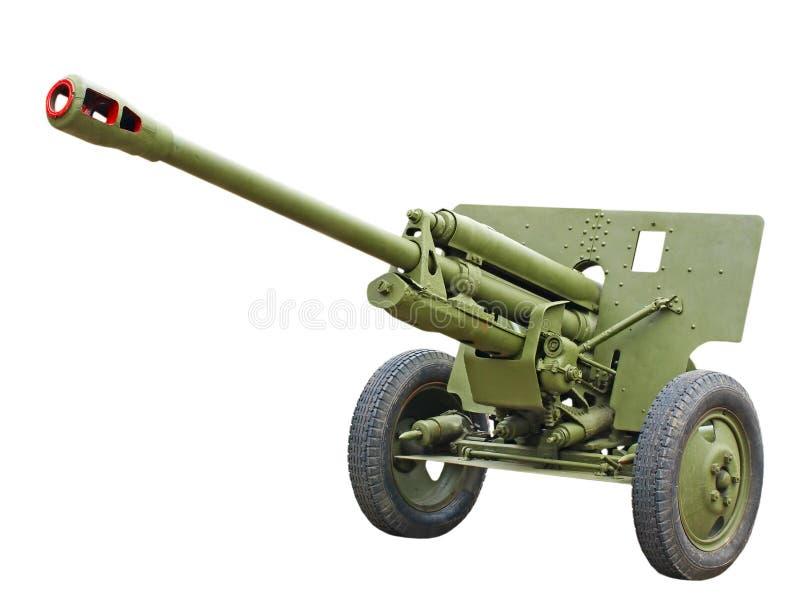 76 mm从WWII.Isolated的俄国分裂大炮枪。 库存照片