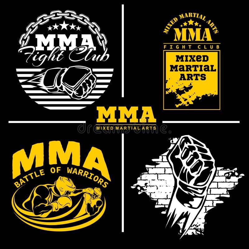 Μικτά MMA διακριτικά εμβλημάτων πολεμικών τεχνών - διανυσματικό σύνολο ελεύθερη απεικόνιση δικαιώματος
