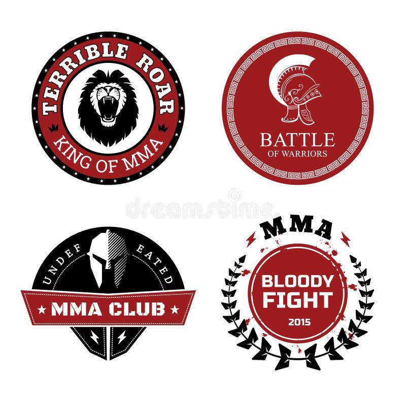 MMA-Etiketten - Gemengd Vechtsportenontwerp vector illustratie