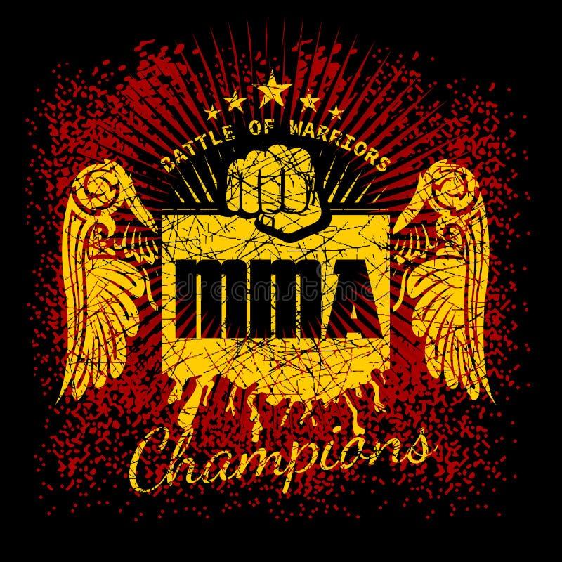 MMA etykietki na grunge tle ilustracja wektor