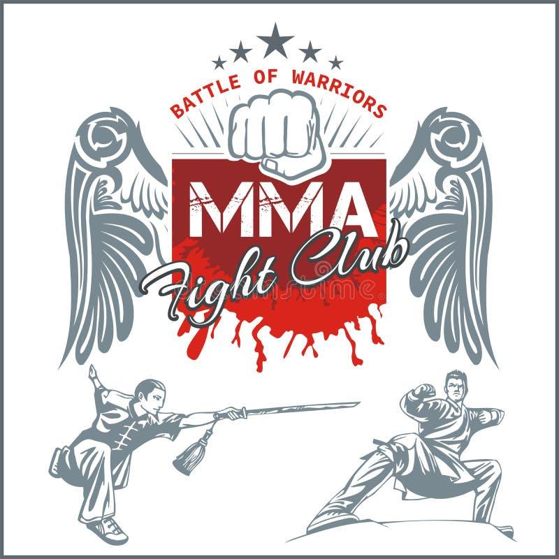 MMA etykietki - wektor Mieszający sztuka samoobrony projekt royalty ilustracja