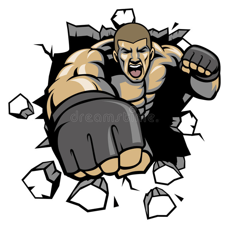 mma fighter break the wall stock vector illustration of strength rh dreamstime com mma gloves clipart mma gloves clipart