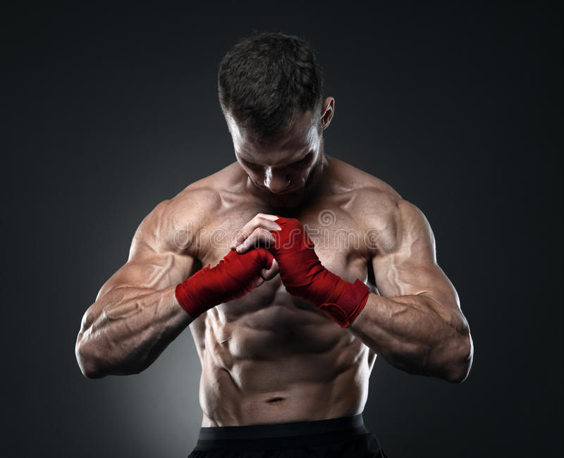 MMA fighter got ready for the fight stock photography