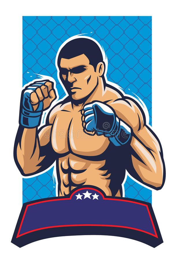 Mma fighter. Vector of MMA fighter with text space below, all element are separated vector illustration