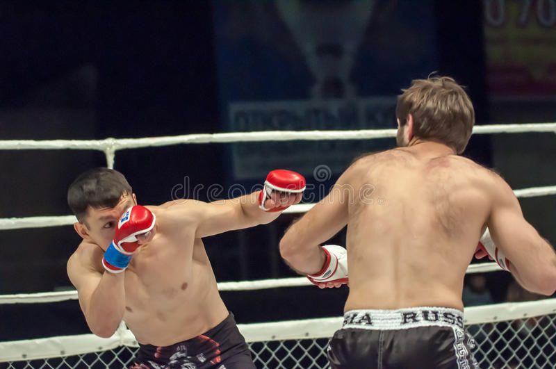 MMA or Fights without rules. Orenburg, Russia - 21 February 2015: Fight in mixed martial arts fighters on the open cup of Orenburg region mixed martial art (MMA stock photo
