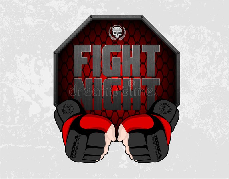 MMA gloves hands octagon stage cage poster. Mixed martial arts fight night banner. Fighting emblem logo element. Boxing decoration stock illustration
