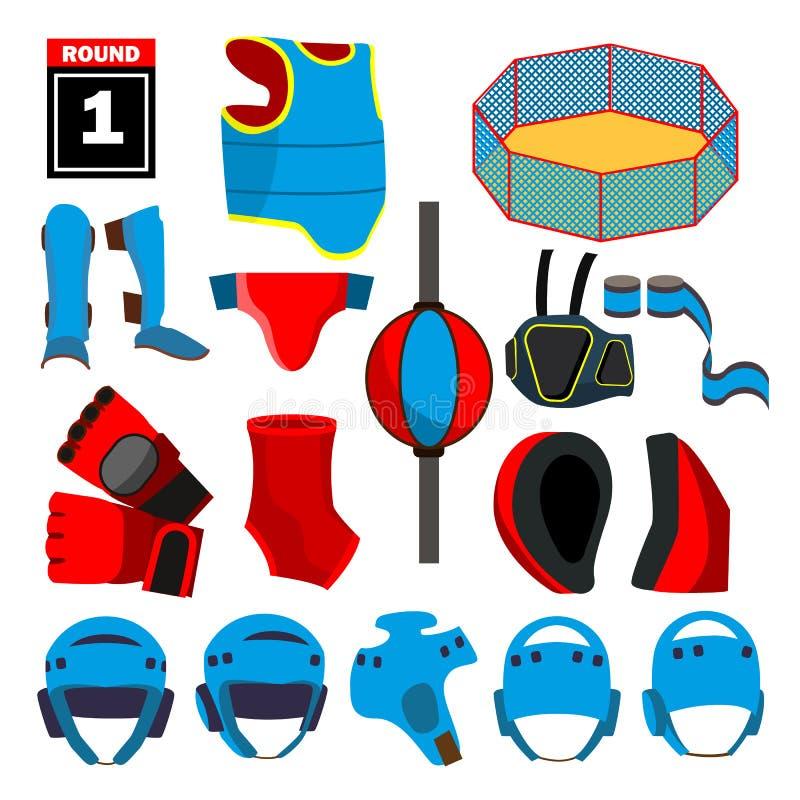 MMA ikona Ustawiający wektor MMA akcesoria Round, arena, pierścionek, rękawiczki, hełm, pasek Odosobniona płaska kreskówki ilustr ilustracji